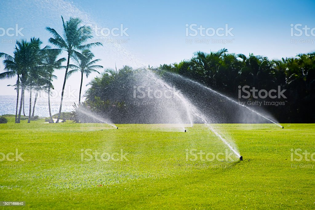 Watering Grass Lawn with Irrigation Equipment Lawn Sprinklers stock photo