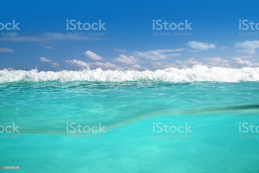 waterline caribbean sea underwater and blue ocean royalty-free stock photo