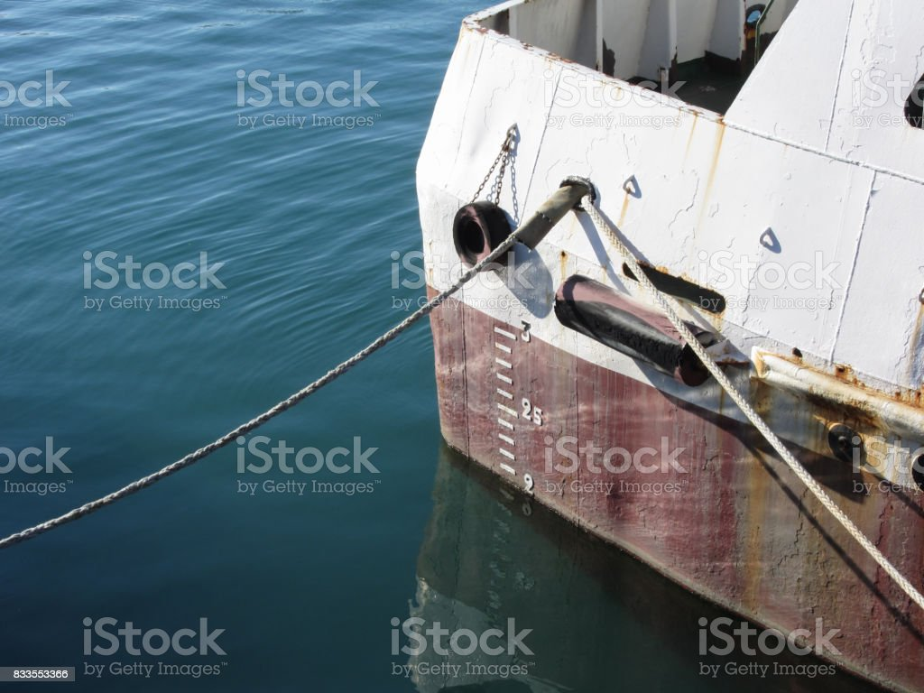 Waterline marked on the ship with draft scale numbering stock photo