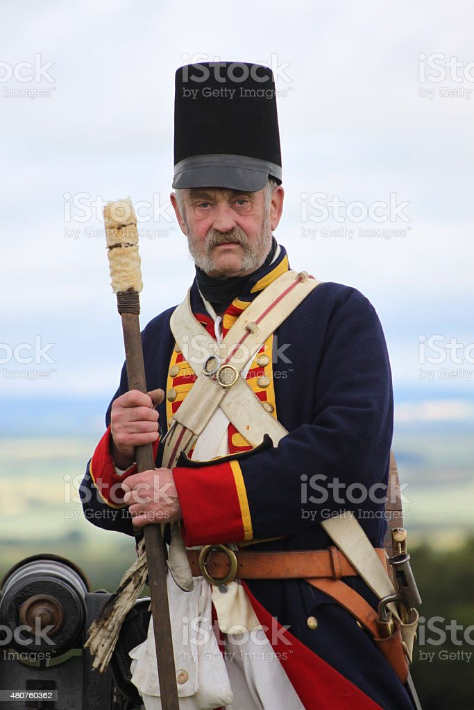 Waterloo Artillery Soldier. stock photo