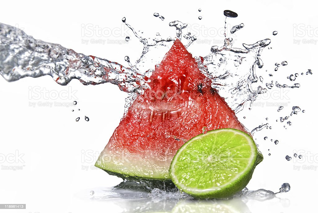 watermelon and lime with water splash royalty-free stock photo