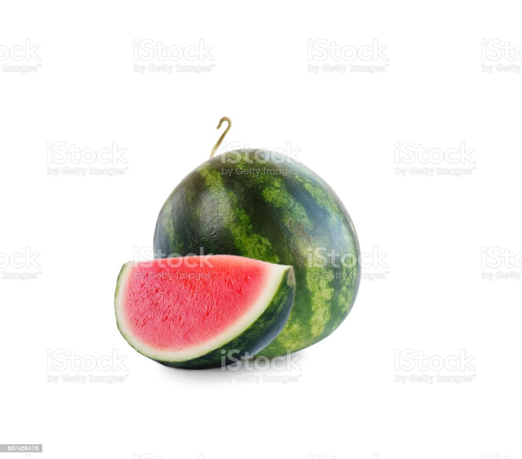 watermelon and slice isolated on white background. stock photo