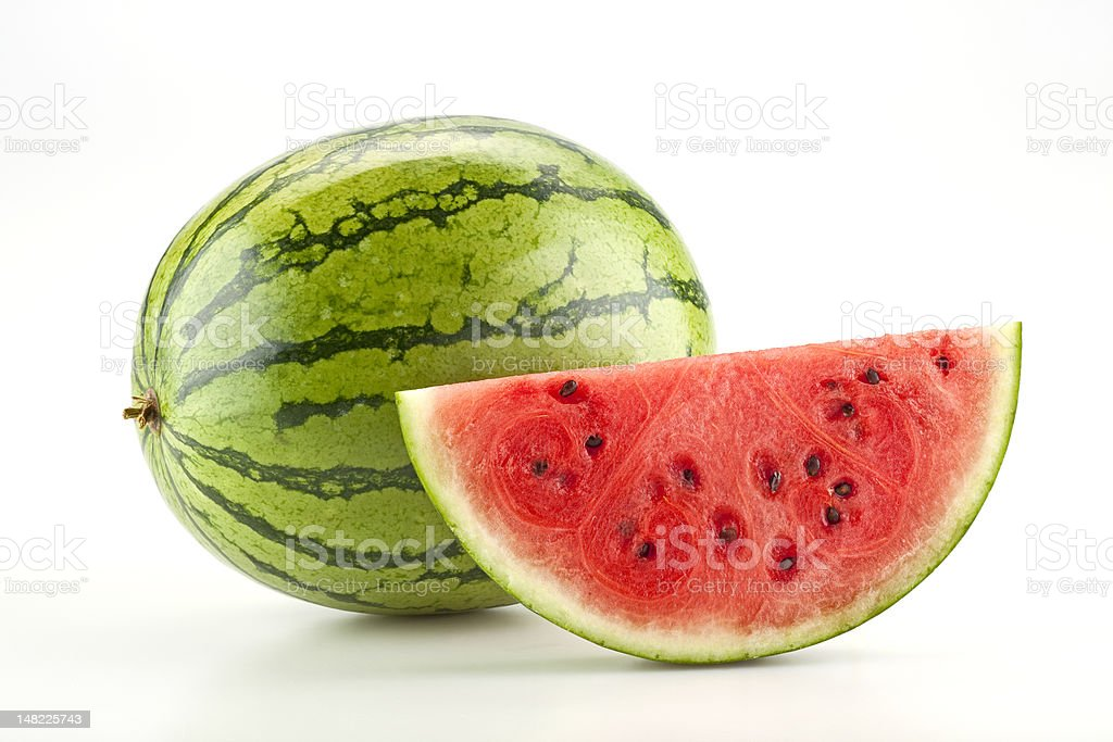 Watermelon and slice stock photo