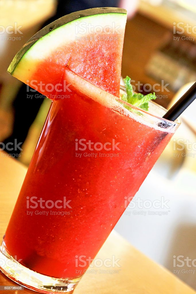 Watermelon and Strawberry Smoothie Drink at a Bar stock photo