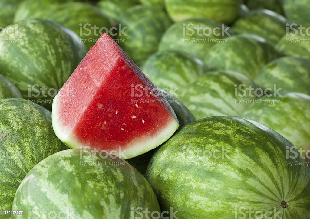 Watermelon at a Farmers' Market stock photo