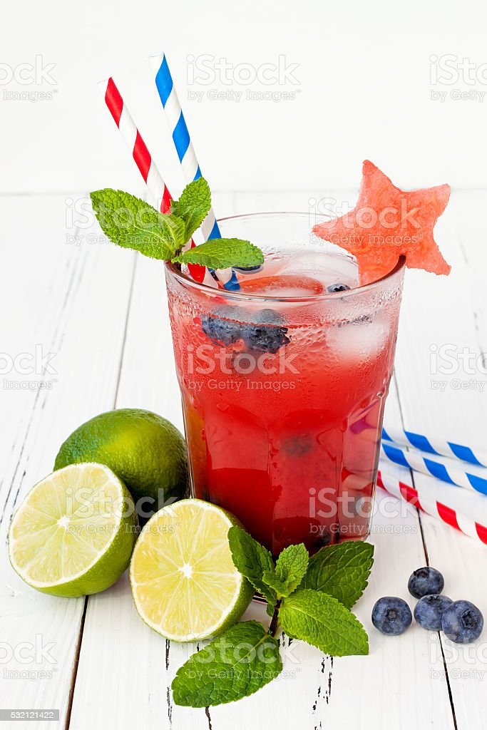 Watermelon blueberry mojito. Patriotic cocktail for 4th of July party stock photo