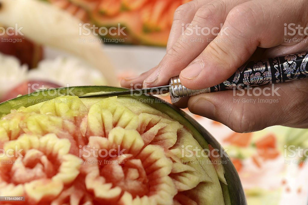 Watermelon carving food, Thailand royalty-free stock photo