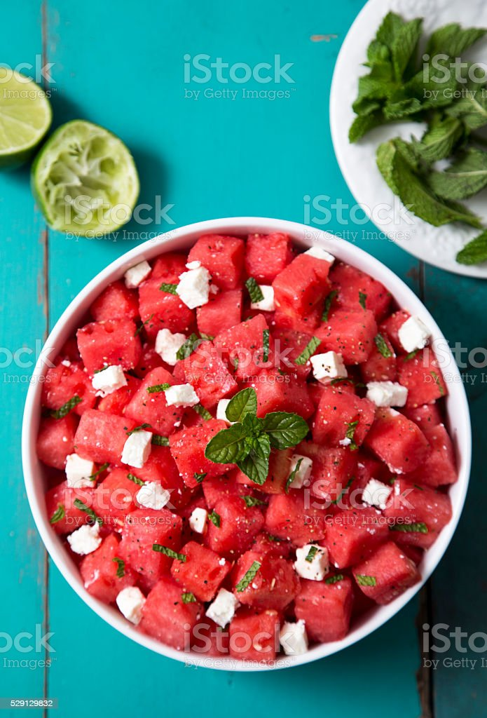 Watermelon Feta and Mint Salad stock photo