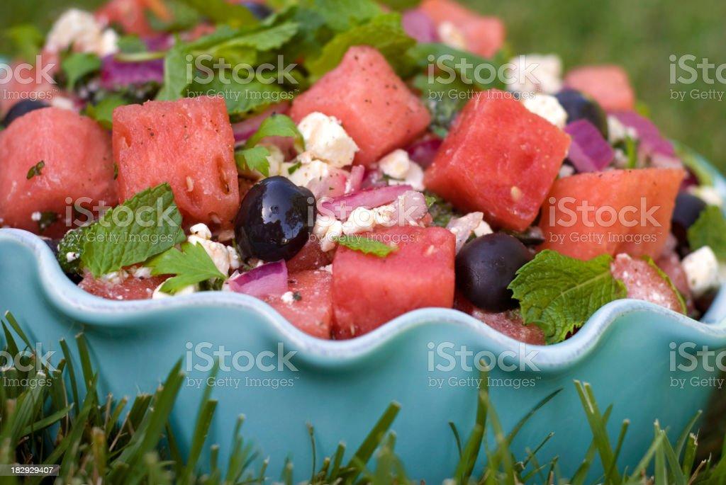 Watermelon & Feta Cheese Summer Picnic Fruit Salad on Backyard Lawn royalty-free stock photo