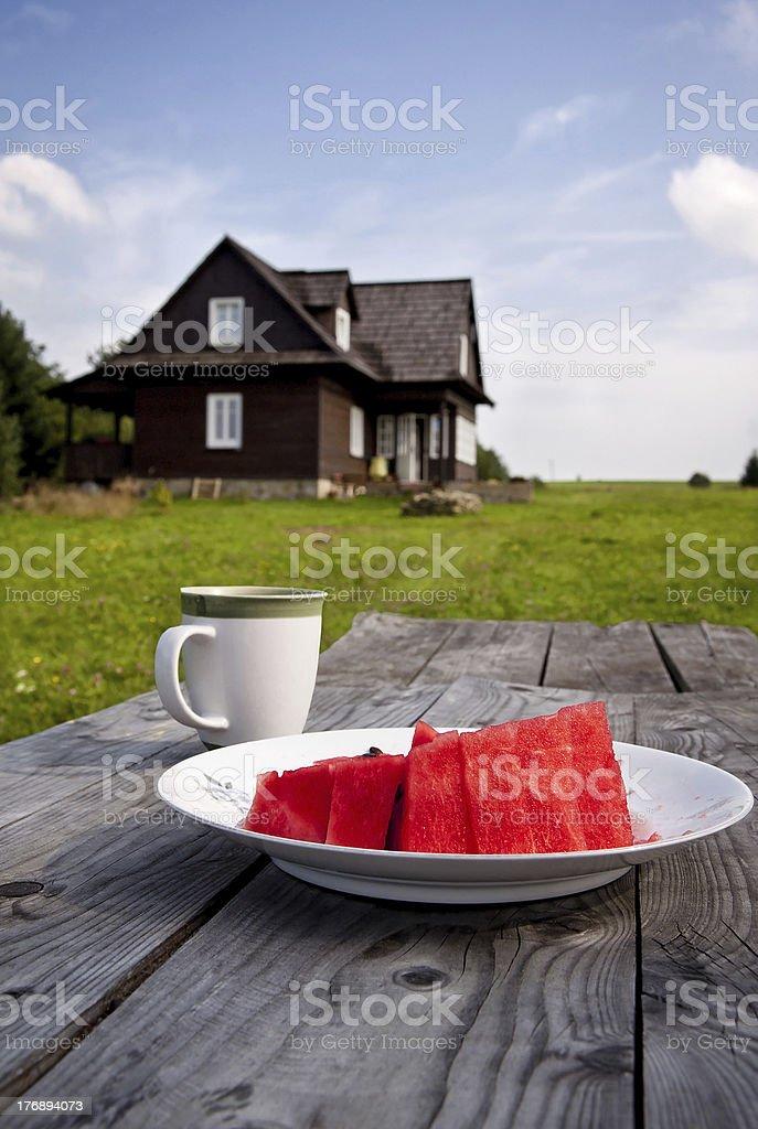 Wassermelonen Mittagessen in der Umgebung Lizenzfreies stock-foto