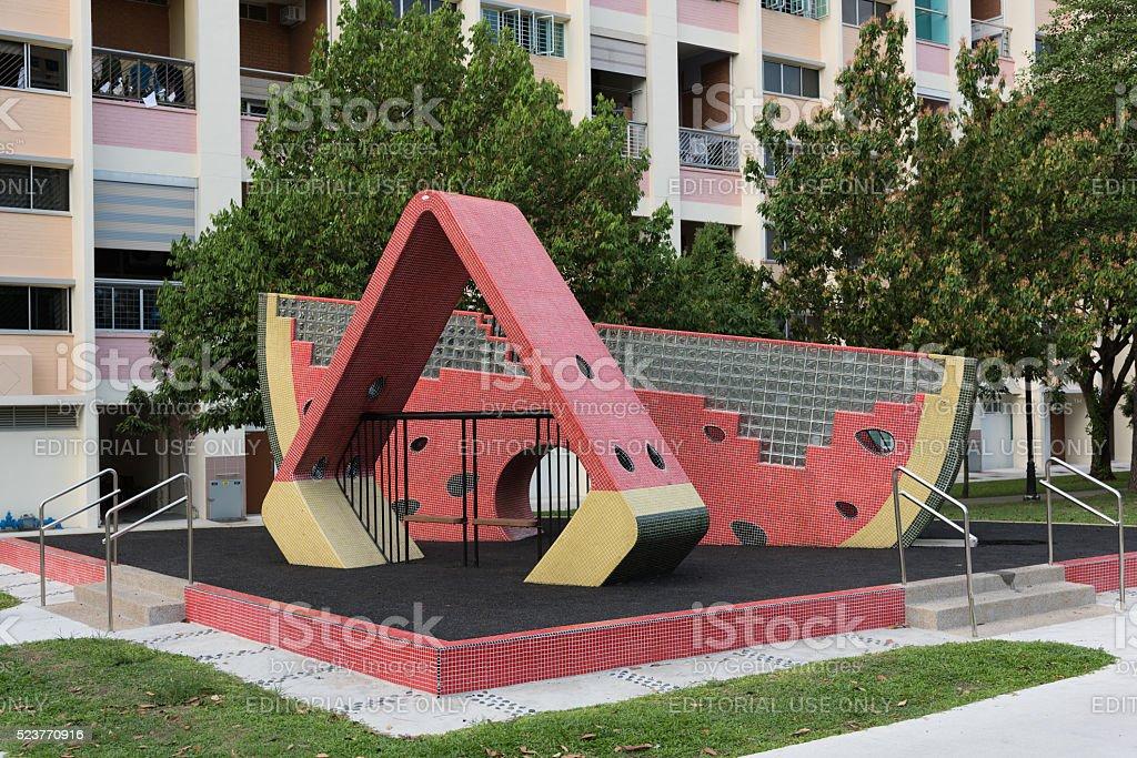 Watermelon mosaic playground stock photo