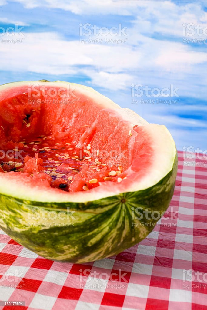 Watermelon on picnic table. royalty-free stock photo