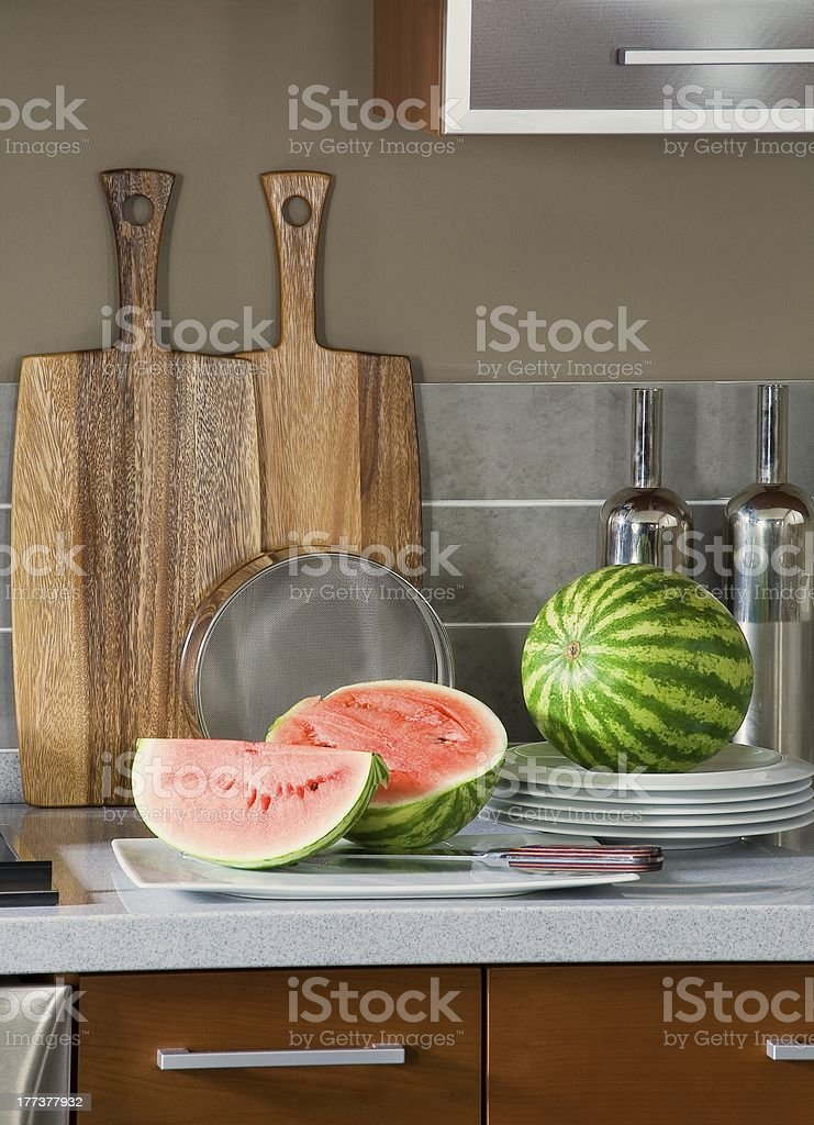 Watermelon on the kitchen table royalty-free stock photo