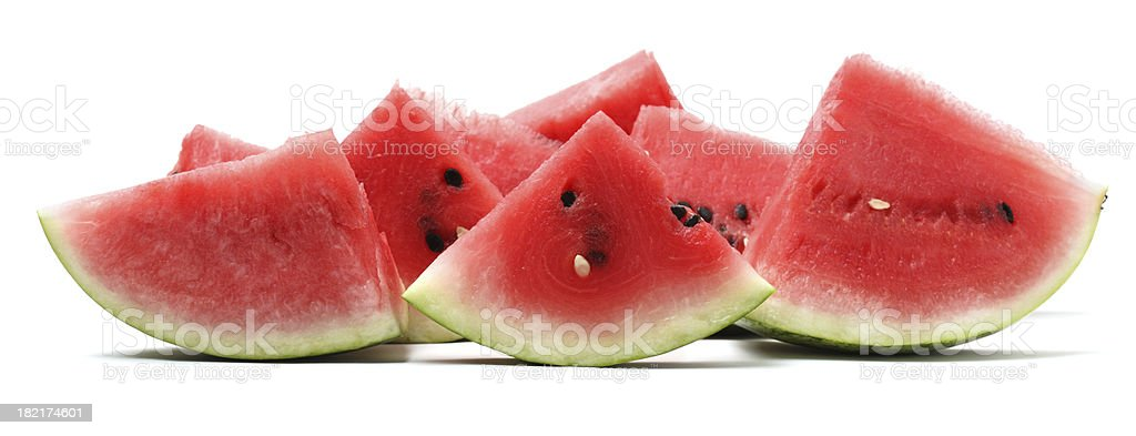 Watermelon pieces isolated on white royalty-free stock photo