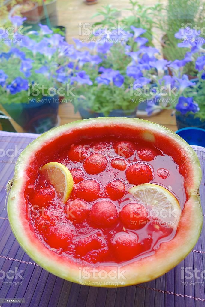 Watermelon punch bowl stock photo