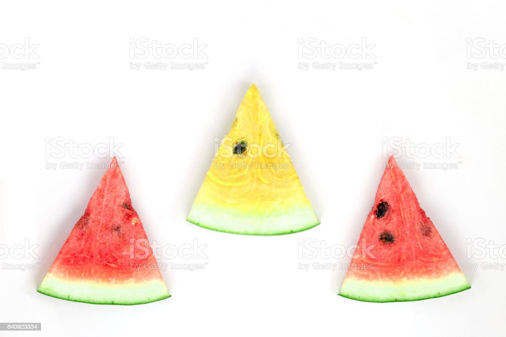 watermelon red and yellow sliced stock photo