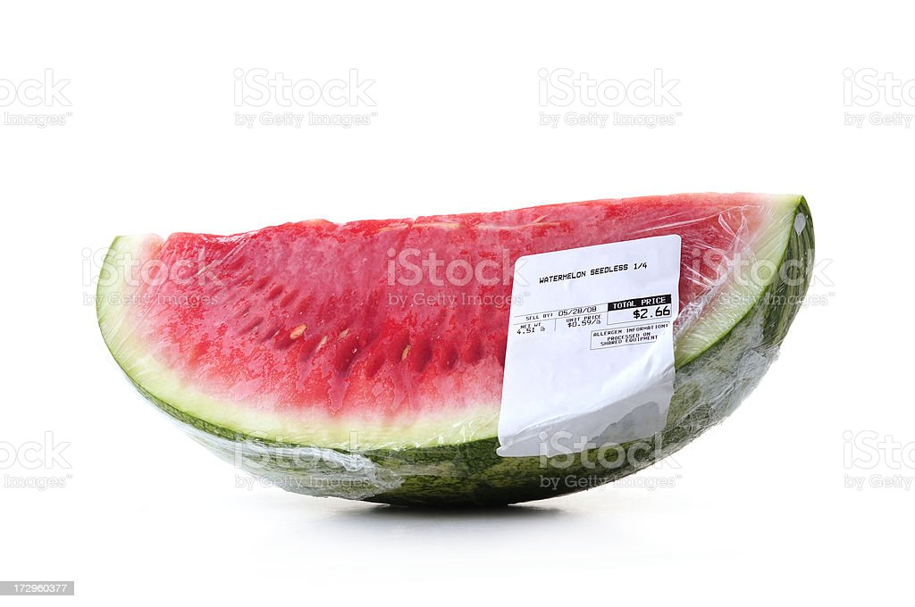 watermelon seedless film wrapped with label price royalty-free stock photo