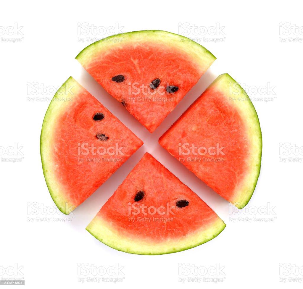 Watermelon slice isolated on white background stock photo