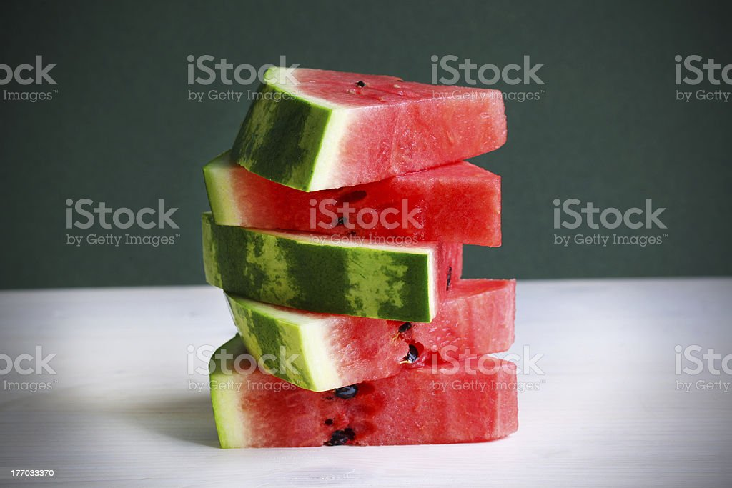 Watermelon slices portioned in the kitchen royalty-free stock photo