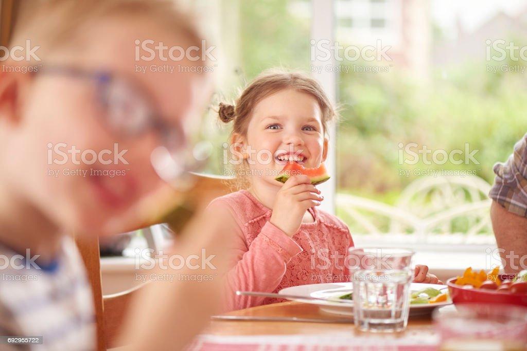 watermelon smile stock photo