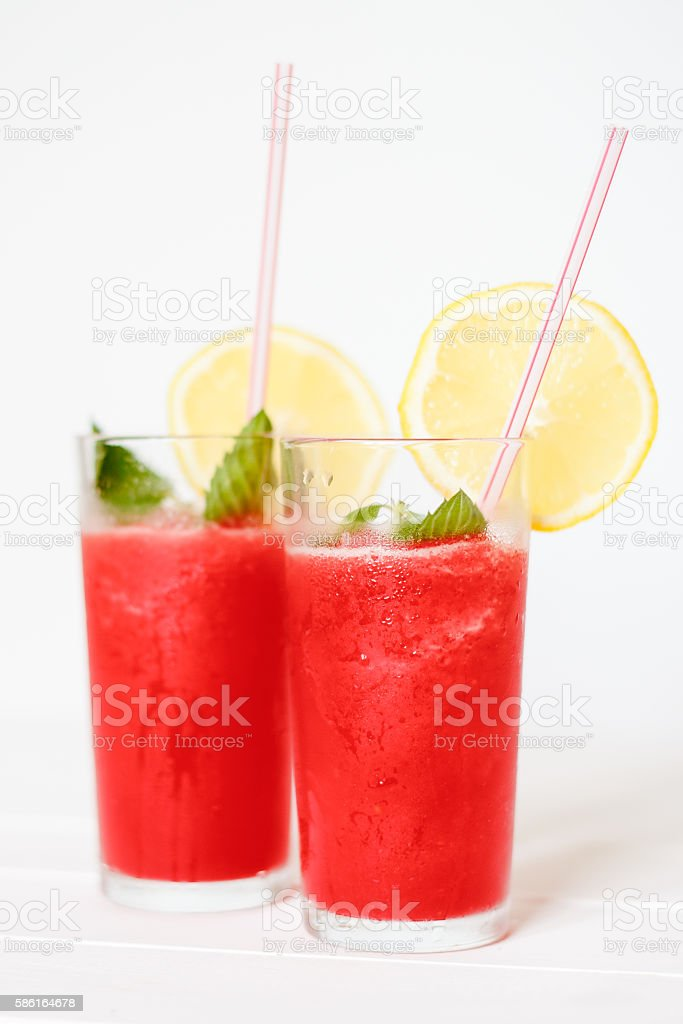 Watermelon smoothies with lemon and mint stock photo
