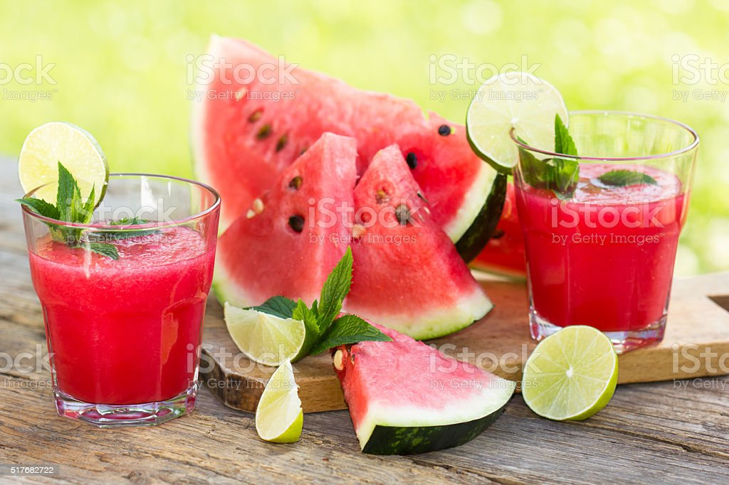 Watermelon smoothies with lime and mint stock photo