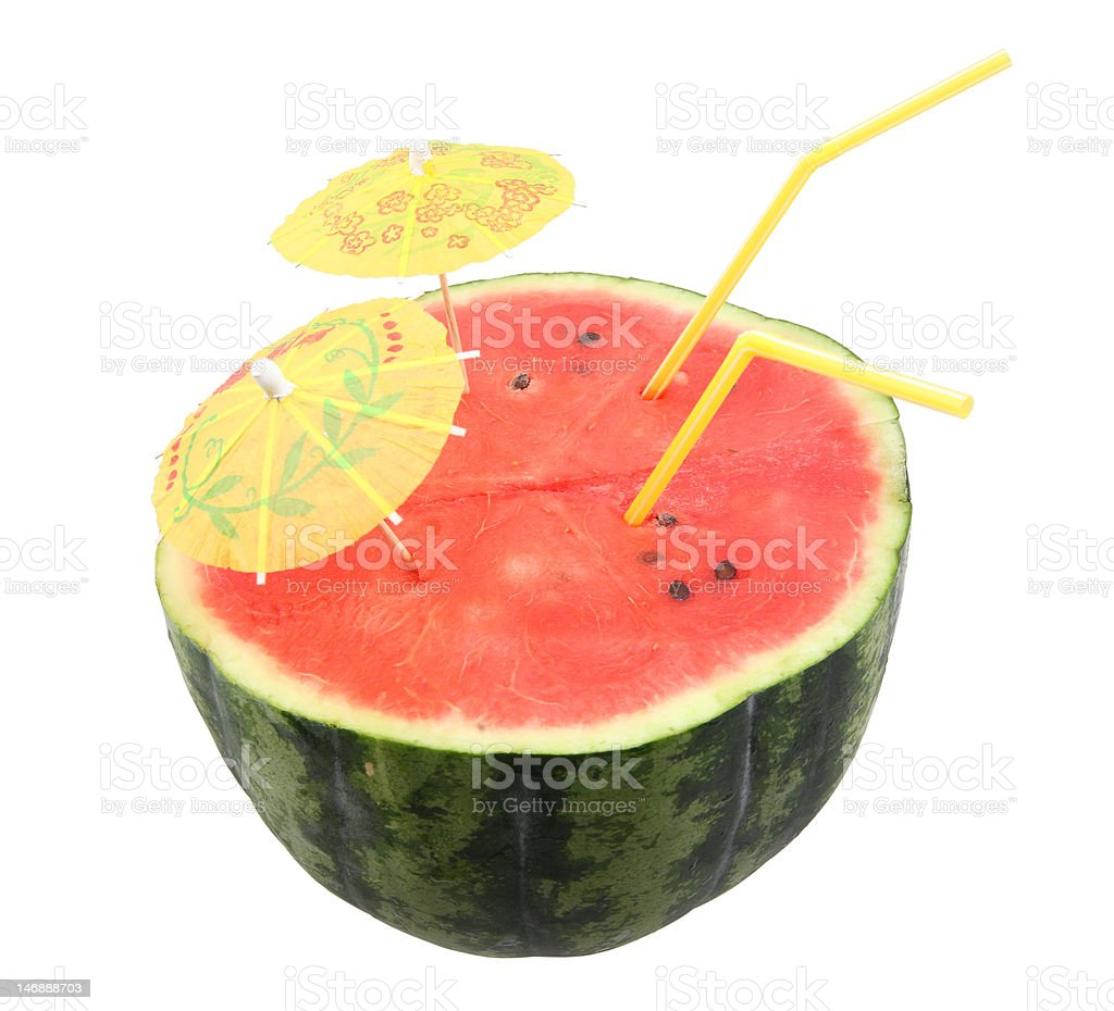 watermelon with drinking straws stock photo