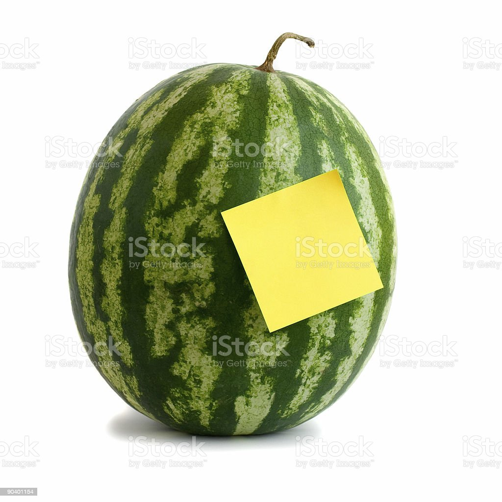 watermelon with yellow adhesive note isolated on white background.. royalty-free stock photo