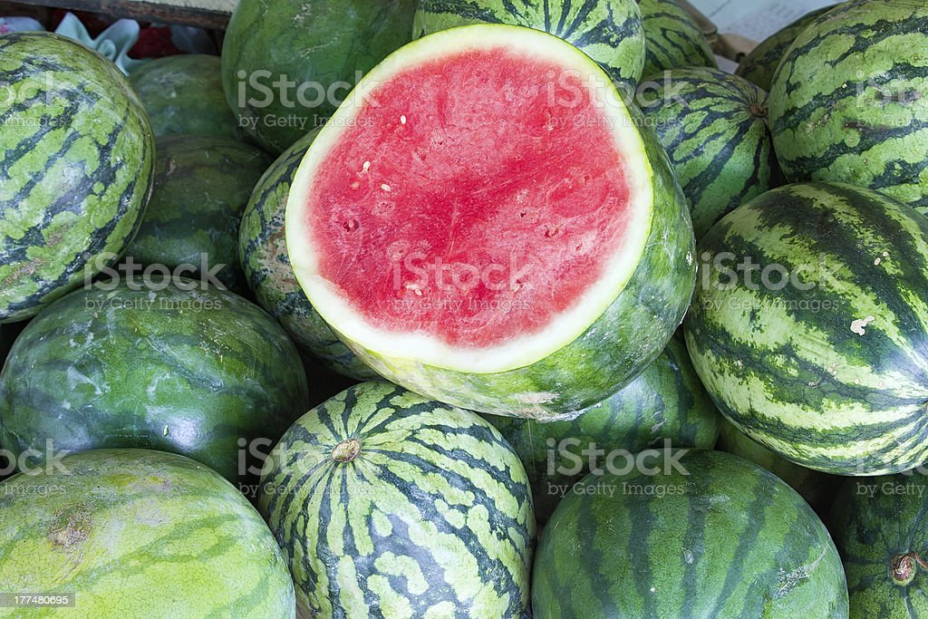 Watermelons at Fruit Stand Closeup royalty-free stock photo