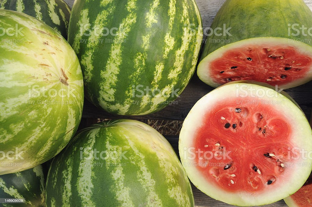 Watermelons Sliced Open royalty-free stock photo