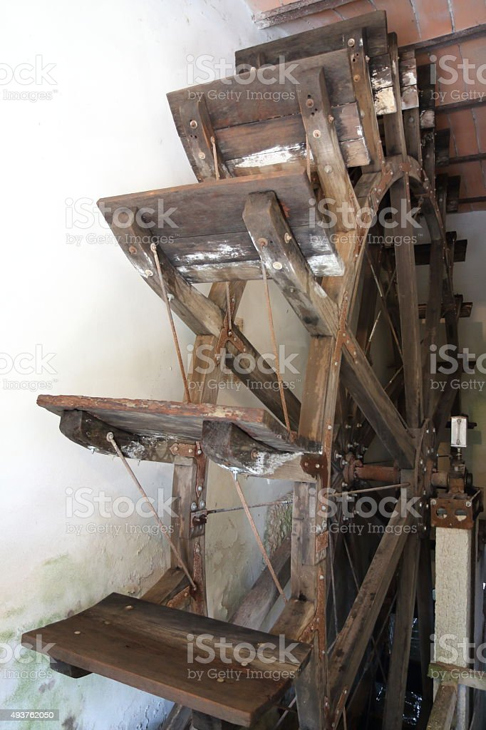 Watermill wheel stock photo