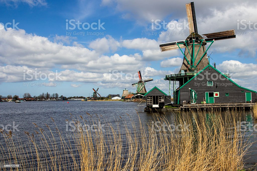 Watermills in Zaanse Schans royalty-free stock photo