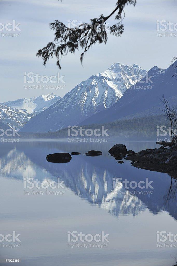 Wateron Glacier International Peace Park MacDonald Lake royalty-free stock photo