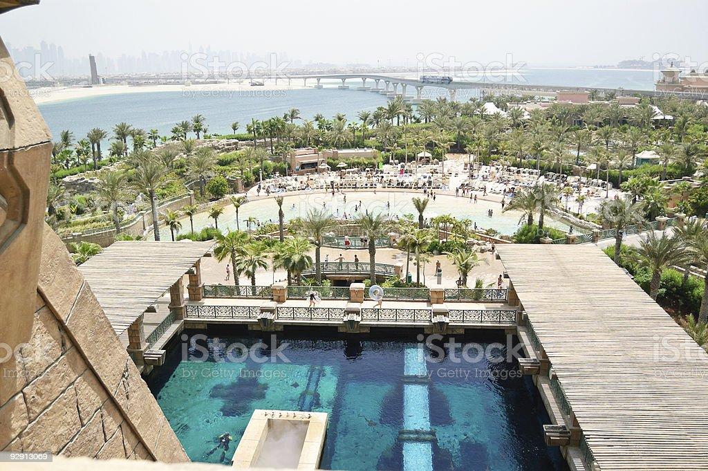 Waterpark of Atlantis the Palm hotel, Dubai, UAE stock photo