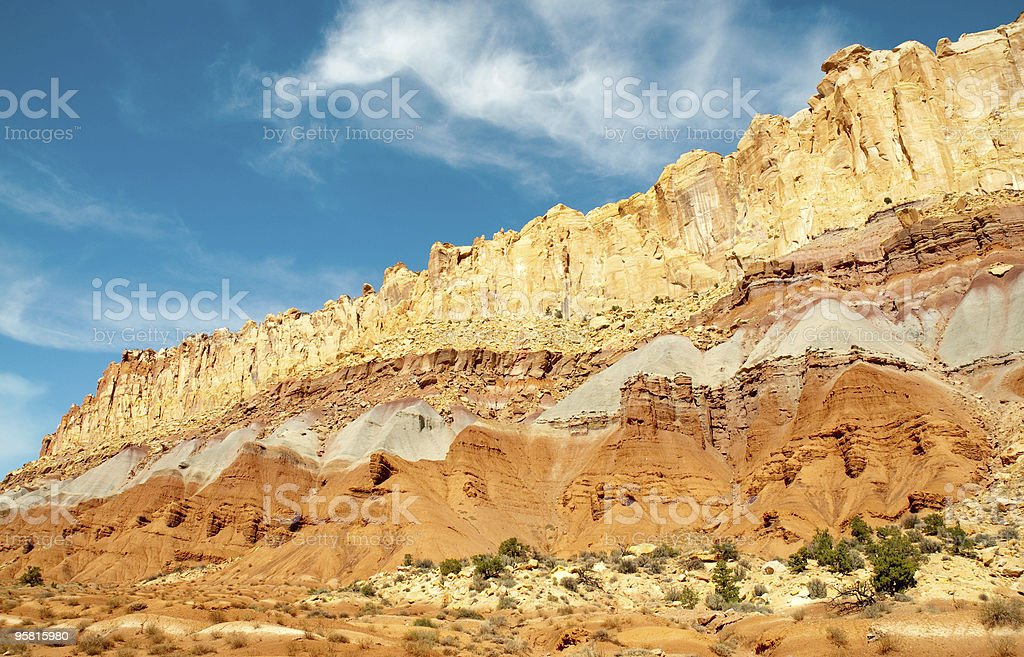 Waterpocket Fold rock layers stock photo