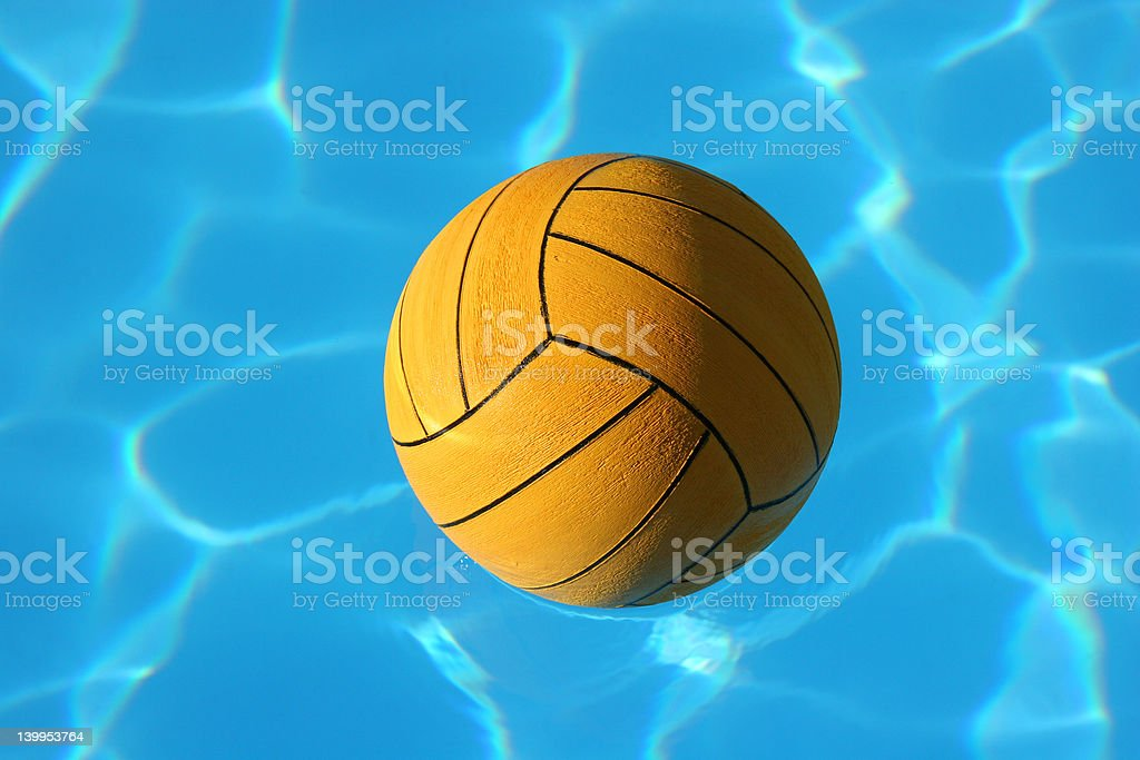 Waterpolo ball in pool (1) stock photo