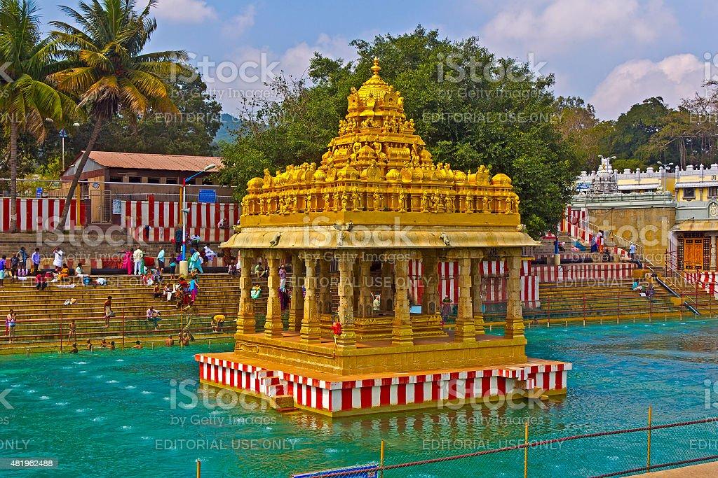 Waterpond close to Balaji temple stock photo