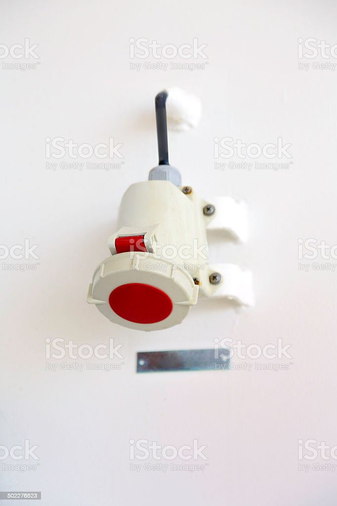 Waterproff power outlet on ship stock photo