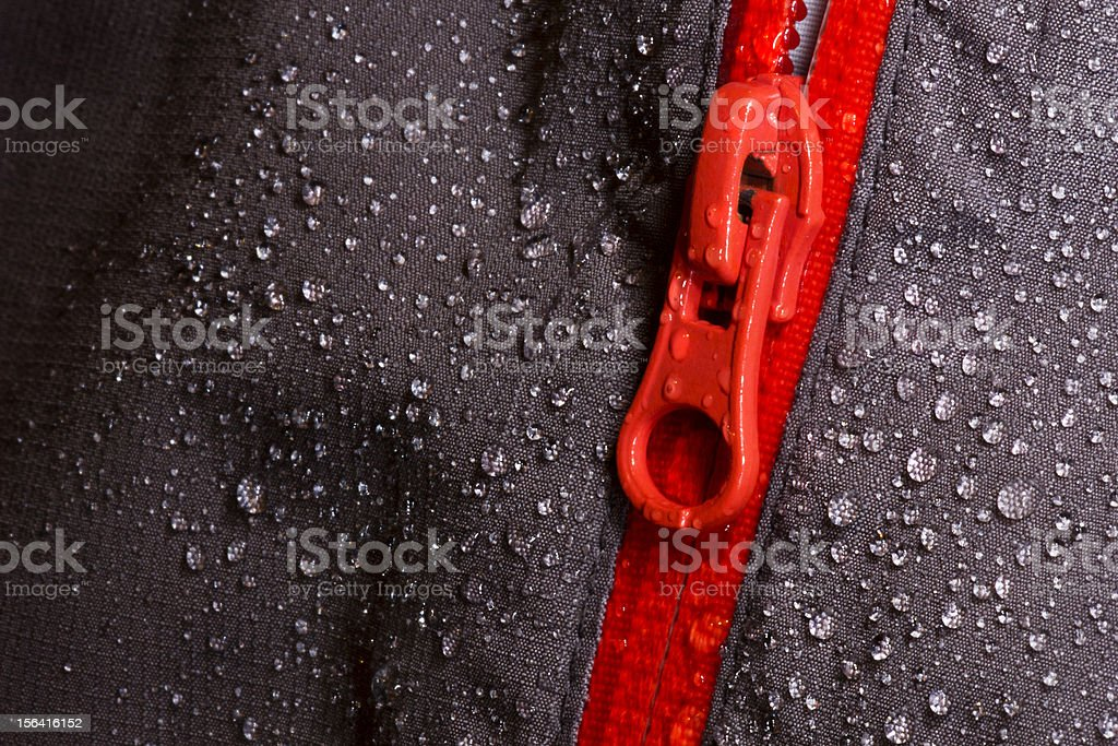 Waterproof fabric and zipper for outdoors stock photo