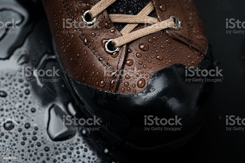 waterproof shoes for hiking stock photo