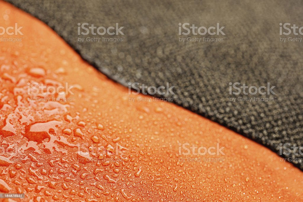 Waterproof textile after rain - covered with water drops royalty-free stock photo