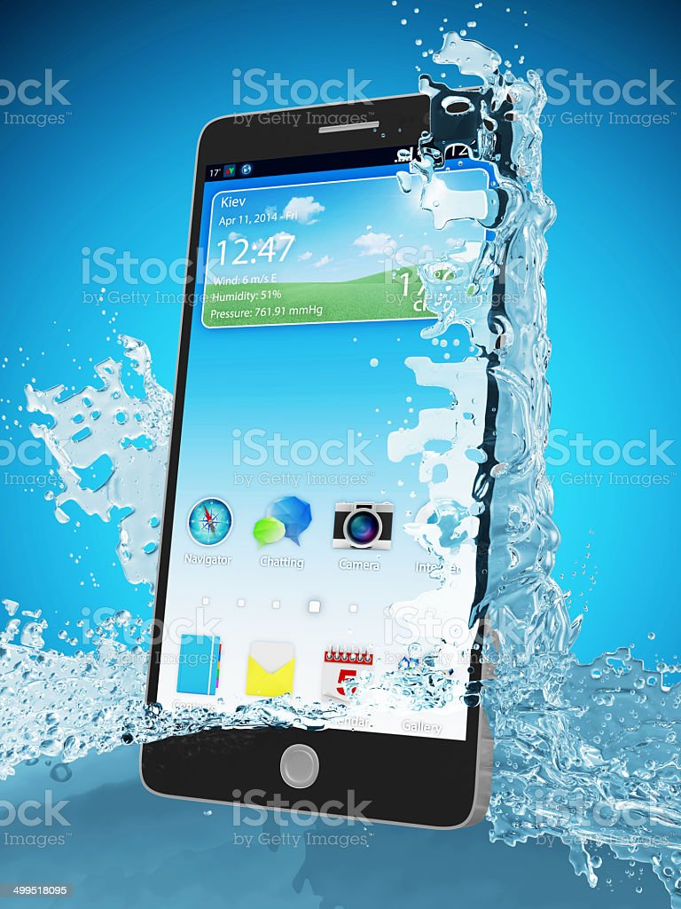 Waterproof Touchscreen Smart Phone in Water on blue gradient background stock photo