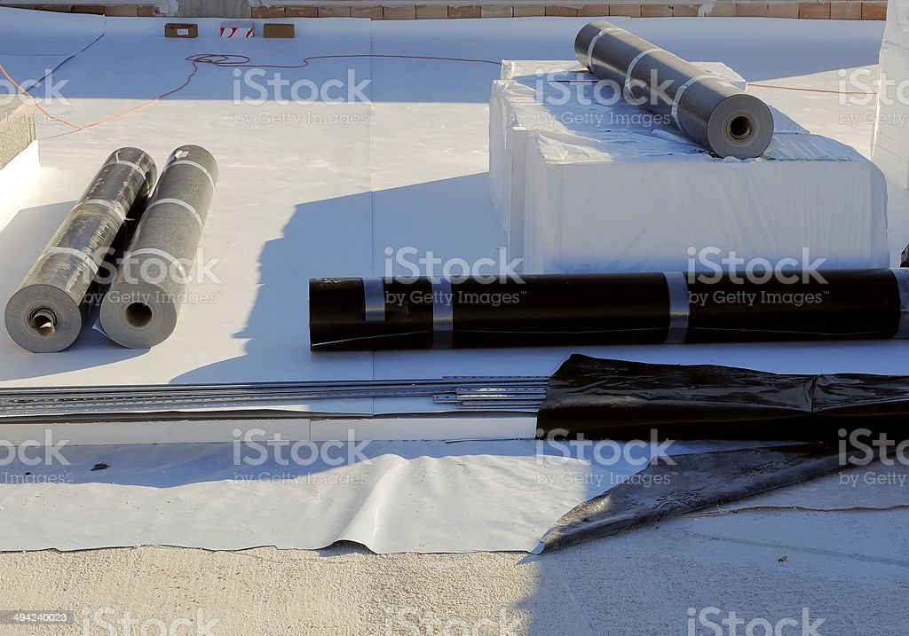 waterproofing and insulation pvc terrace stock photo
