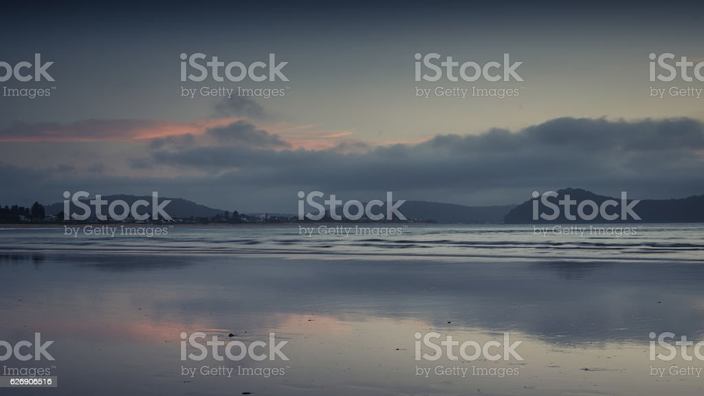 Waterscape reflections at daybreak stock photo