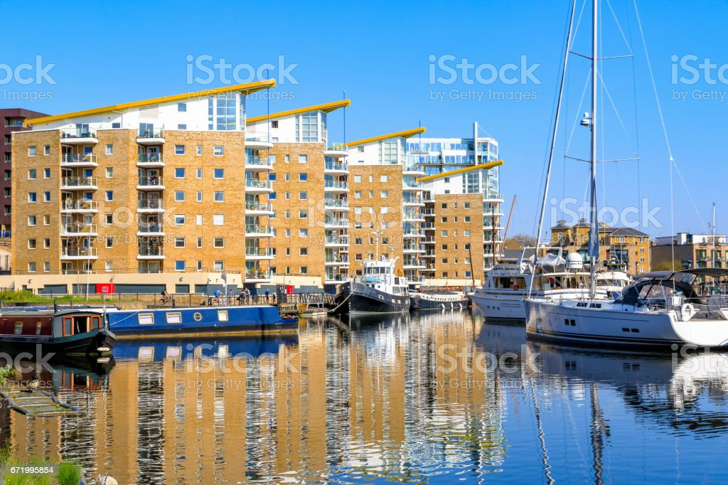Waterside apartments at Limehosue Basin stock photo
