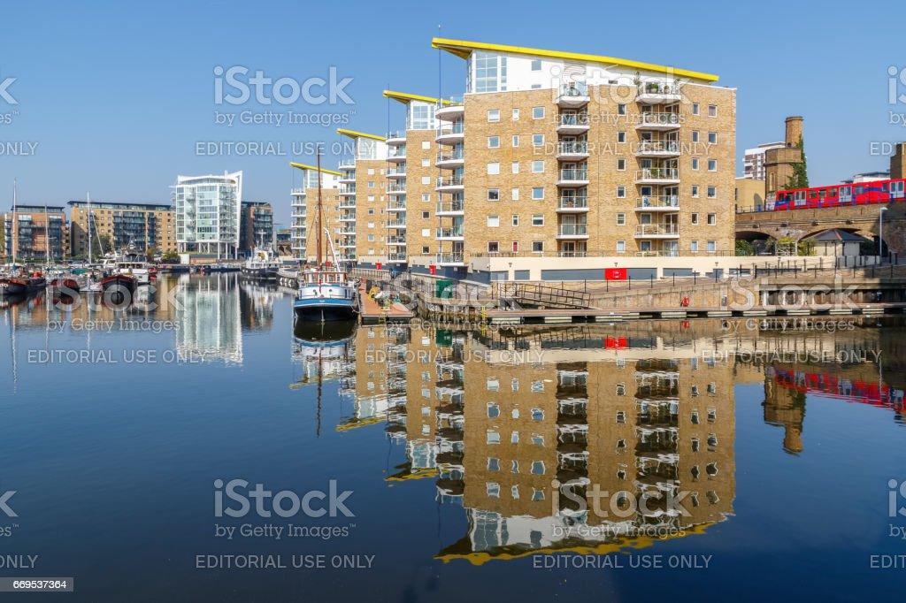 Waterside apartments at Limehouse Basin Marina stock photo