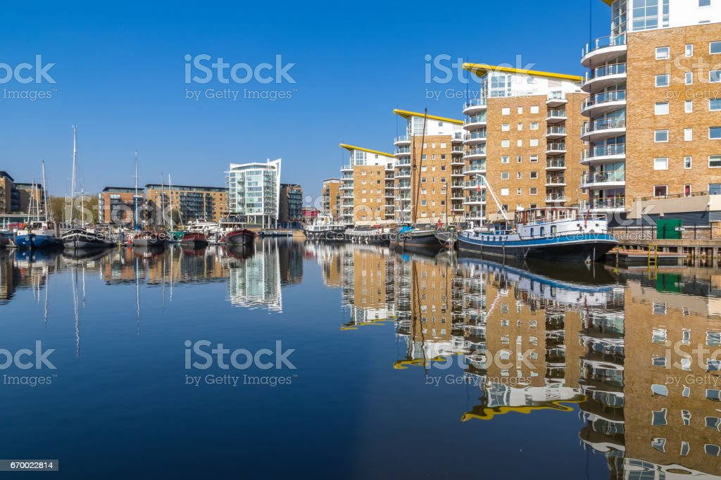 Waterside apartments at Limehouse Basin Marina stock photo