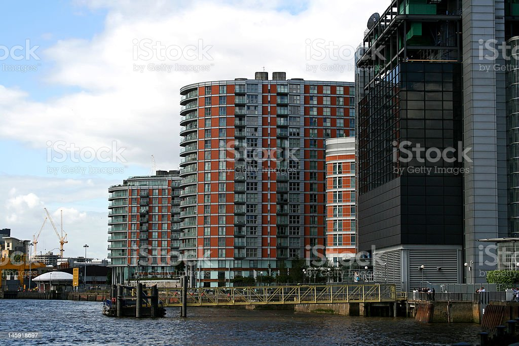 waterside living next to river thames in london royalty-free stock photo