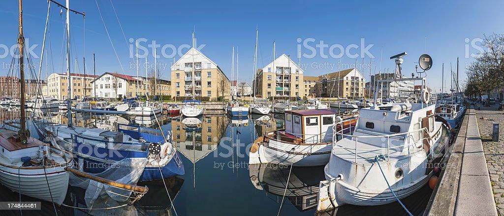 Waterside living yacht marina apartments panorama royalty-free stock photo