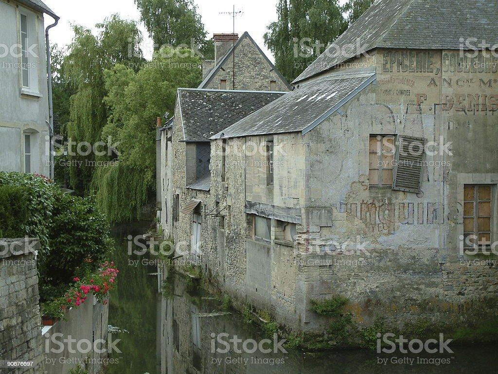 Waterside property stock photo
